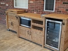 Outdoor Rustic Wooden Cooler Bar, Serving or Console Table, Bar Cart or Mini Fridge Bar Cabinet and Patio Furniture Bar Patio, Outdoor Patio Bar, Outdoor Living, Indoor Outdoor, Outdoor Bar Cart, Outdoor Bars, Wood Patio, Backyard Patio, Outdoor Mini Fridge