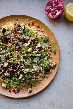 Eggplant, Millet & Pomegranate Salad // Loving Earth
