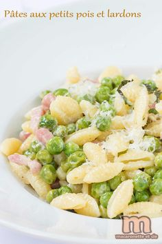 Pâtes aux petits pois et lardons de Jamie Oliver - Macaronette et cie