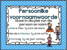 Persoonlike Voornaamwoorde Afrikaans Language, 1st Grade Worksheets, School Posters, School Readiness, Study Notes, School Fun, Kids Education, School Projects, Kids Learning