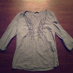 Cute work top. Cute work top. Jean like material but material is actually very light. Can be worn with khakis or black jeans. Old Navy Tops Blouses