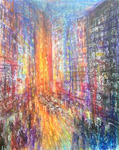 Semi abstract cityscape, mixed media on paper, oil pastel and pen, Wakefield Artist Tim Burton. Modern Art, Contemporary Art, John Waters, Wakefield, Art Portfolio, Tim Burton, Mixed Media, Pastel, Oil
