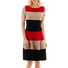 Danny & Nicole® Short-Sleeve Colorblock Fit-and-Flare Dress  found at @JCPenney