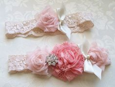 Shabby Chic Wedding Garter/  Vintage Inspired Bridal Wedding Garter/ Coral Garter with Pearls and Rhinestones/ Toss Included via Etsy