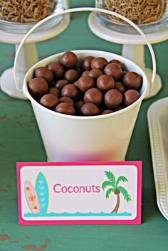 Coconuts/whoppers from a Hawaiian Luau (Moana) Birthday Party Aloha Party, Party Hawaii, Hawaii Birthday Party, Luau Theme Party, Party Set, Hawaiian Luau Party, Hawaiian Birthday, 13th Birthday Parties, Tiki Party