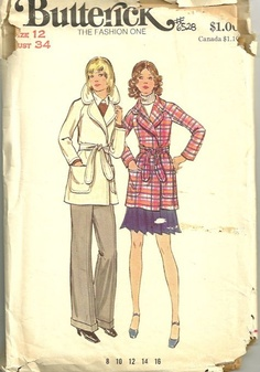 Butterick 6528 1970s Misses Spy Style Wrapped Jacket Pattern Womens Vintage Sewing Pattern by patterngate.com
