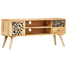 World Menagerie This TV stand with an industrial style will become the focal point of your living room or entertainment area. It can also be used as a sideboard, low board, etc. The TV cabinet is made of solid mango wood which is stable, durable and beautiful, and the craftsmanship adds to its spectacular retro style. Every step of the process is carried out with the greatest care, be it polishing, painting or lacquering. The craftsmanship and the beautiful wood grains make every piece of… Wooden Tv Stands, Solid Wood Tv Stand, Estilo Retro, Living Furniture, Home Furniture, Luxury Furniture, Tv Regal, Tv Stand Sideboard, Retro Stil