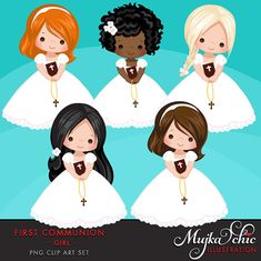 First Communion Clipart for Girls Wonderful set for first communion invitations, parties and more. Set includes 5 cute first communion characters holding a First Communion Cards, Première Communion, First Communion Invitations, First Holy Communion, Communion Favors, Clipart, Cute Characters, Digital Stamps, Christening