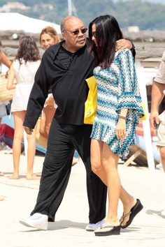 Quincy Jones is seen on the beach with his much younger girlfriend