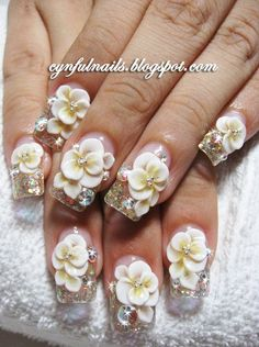 Bridal nails, beautiful way to accent your bouquet on your special day. Acrylic flowers, built up over a glitter based acrylic, with gems to finish off the look. Get Nails, Fancy Nails, Hair And Nails, Bridal Nails, Wedding Nails, Gorgeous Nails, Pretty Nails, 3d Nail Designs, Flower Nails