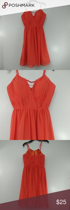 """Coral Empire Formal Dress Coral Empire Formal Dress Armpit to armpit measures 17"""" Top of the shoulder strap to the bottom of the dress measures 43"""", waist measurs 14"""" flat across.  Wonderful Condition Dresses Prom"""