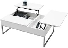 """Chiva functional coffee table with storage, available in different colors. As shown, matte white lacquered/white glass/brushed steel. H12¾/17½xW34¼/42¾xD21¾/30¼"""". [Chiva - AD05]"""