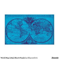 World Map (1691) Blue & Purple Poster