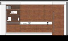 Keukenwand met dichte kastjes. De keuken is een open woonkeuken met het praktische van een keuken en de stijl en sfeer van de woonkamer.