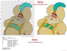 The Sultan Disney Aladdin cross stitch pattern