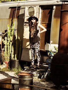 "somedays lovin - somedays x natalie off duty - ""moon motel tank"" / ""jagger leopard knit joggers"""