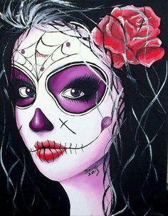DAY OF the DEAD sugar skull girl tattoo original oil Sugar Skull Mädchen, Sugar Skull Girl Tattoo, Sugar Skull Makeup, Day Of The Dead Girl, Day Of The Dead Skull, Halloween Pillows, Halloween Skull, Punk Tattoo, Girl Tattoos