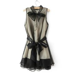 Stylish Bow Collar Riband Embellished Splicing Sleeveless Ball Gown Dress For Women