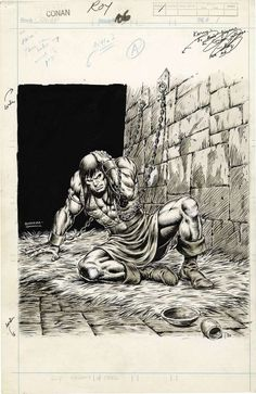 Splash page illustration for 'The Savage Sword of Conan' No.67, pencilled by John Buscema and inked by Kerry Gammill