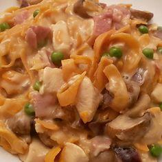 Sweet Potato Tagliatelle in a Creamy Chicken, Bacon, Mushroom and Pea Sauce