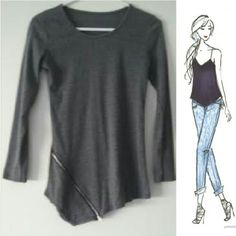 Asymmetrical 3/4 Sleeve Top Asymmetrical gray top with working zipper along the bottom. No label or size, fits an XS to a small though. Bought online. Tops Tees - Long Sleeve