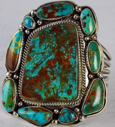 NAVAJO STERLING SILVER HUGE TURQUOISE CUFF ~ MIKE & EVELYN PLATERO