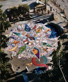 Mandala created by 600 community members in Robert's Creek, British Columbia, Canada...