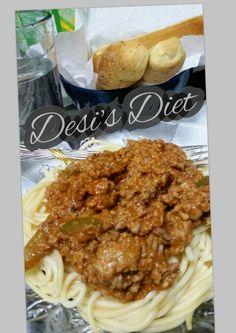 Desi's Diet #desisdiet #spaghetti #groundturkey #garlicbreadsticks