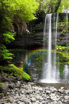 134 Rainbow Waterfall With Stone Shoreline Backdrop Photography Backdrops, Landscape Photography, Nature Photography, All Nature, Amazing Nature, Beautiful Waterfalls, Beautiful Landscapes, Beautiful World, Beautiful Places