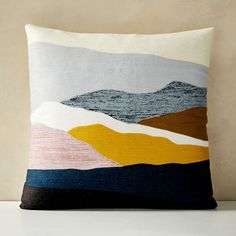 "Crewel Landscape Pillow Cover, 20""x20"", Washed Gemstone 