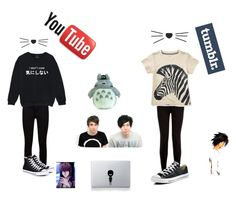 """""""Guess What I've Been Watching This Weekend"""" by against-the-tides ❤ liked on Polyvore featuring Paige Denim, Converse, Kale, New Look, Ghibli, Vinyl Revolution, tumblr, anime, cats and youtube"""