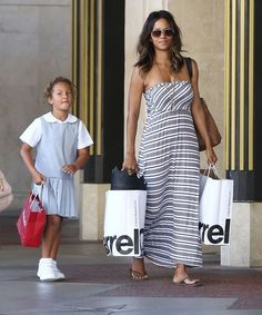 Halle and daughter Nahla at the Grove in L.A.