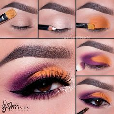 @elymarino shows us how to create this *dreamy* look using #MotivesCosmetics Follow these steps 1. Begin by applying Timeless eye shadow onto the brow bone. 2. Use khol eyeliner in Angel and apply to the lid. This will act as a base to help color pop and become more vibrant. 3. Take Heat Wave eye shadow and pat onto the first 3/4 of the lid, leaving the outer corner free of color. 4. Use Ecstasy eye shadow and apply onto the outer corner of the eye, taking the shadow just about half...