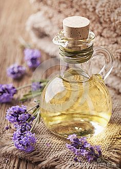 Lavender spa treatment on wooden background