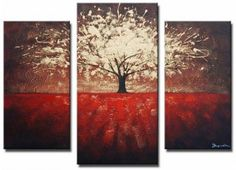 Large 3-piece canvas art is great for a wall with a high ceiling