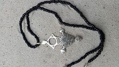 Zilveren touareg kruis van het zuiden met onyx ketting