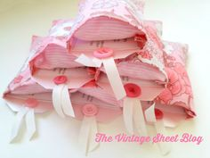 Tiny Pillows in Pillowcases=Sleepover Party Invites!!! The Vintage Sheet Blog: vintage sheets