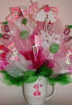 1st BIRTHDAY CUPCAKE Candy Bouquet Centerpiece! 26 Edible Party Favors inside a Keepsake Mug!