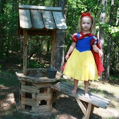 Snow White DRESS and CAPE in primary colors of red blue and yellow princess dress in Tinkerella comfort any size 12 months to girls 8.. $220.00, via Etsy.