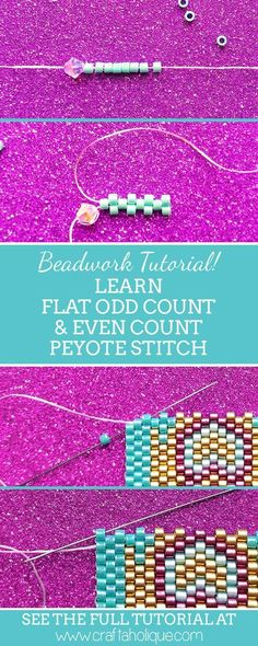 flat even count and flat odd count peyote stitch in this beadwork tutorial. Learn flat even count and flat odd count peyote stitch in this beadwork tutorial. Learn flat even count and flat odd count peyote stitch in this beadwork tutorial. Peyote Stitch Patterns, Bead Loom Patterns, Beaded Jewelry Patterns, Peyote Beading Patterns, Bracelet Patterns, Weaving Patterns, Art Patterns, Fabric Patterns, Color Patterns