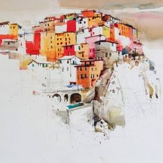 Amazing Watercolor Painting by Indian artist Milind Mulick Watercolor Sketchbook, Watercolor Artwork, Watercolor Artists, Watercolor Techniques, Watercolor Illustration, Watercolor City, Watercolor Architecture, Watercolor Landscape, Landscape Art
