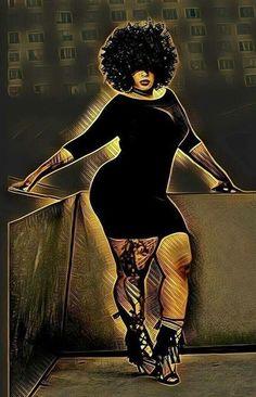 Sexy Black Art, Black Love Art, Black Girl Art, Beautiful Black Women, Black Girl Magic, Art Girl, Black Art Painting, Black Artwork, Plus Size Art