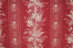 Stunning red floral antique French fabric ~ lovely Rococo design ~ c1870 ~ www.textiletrunk.com