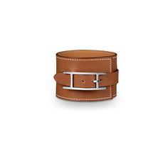 """Fleuron Large Hermes leather bracelet (size MM) Natural barenia calfskin  Silver and palladium plated hardware,1.5"""" wide, 2.25"""" diameter, 6.7"""" circumference."""