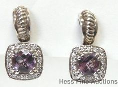 Charles Krypell Genuine Diamond 14k Gold Sterling Silver Amethyst Earrings #CharlesKrypell #DropDangle