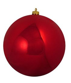"""Shatterproof Shiny Red Hot Commercial Christmas Ball Ornament 10"""" (250mm)"""