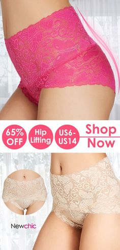 db9d164eb 4 Pieces Plus Size High Waist Tummy Shaping Lace Hip Lifting Panties   plussize  high