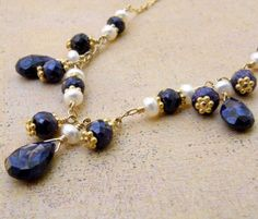 Blue Sapphire Necklace, Navy Blue Wedding Jewelry, Stone Genuine Sapphire Gemstone, Dark Blue Wedding, September Birthstone, Gold Filled