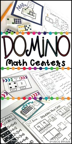 Domino math centers!  Use dominos to reinforce addition, subtraction, related facts, doubles, doubles plus one, doubles minus one, and more!
