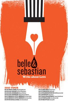 Belle & Sebastian, North American Tour 2010 silkscreen, limited edition poster, by @strawberryluna.
